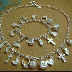 Sterling Silver Bracelet and Necklace Set